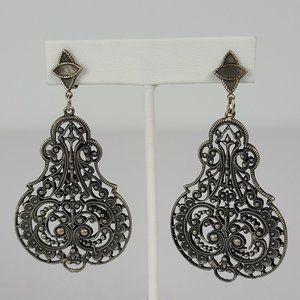 Vintage Silver Tone Filigree Clip On Earrings